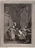 A peeping-tom spying on a fashionable lady receiving an enema