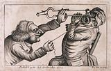 A tooth-drawer frightening his patient with a hot coal in order to be able to extract a tooth more easily
