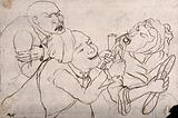 A tooth-drawer using pincers to extract a tooth from an old woman, her husband agonizingly observes the situation