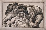 Three grotesque old men with missing teeth grimacing and pointing at each other