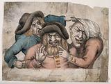 Three grotesque old men with missing teeth pointing and grimacing at each other