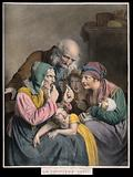 An old woman showing a young mother and three children her last tooth