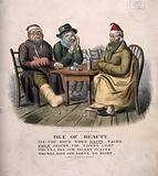 Three miserable men suffering from gout, toothache and flu sitting around a table