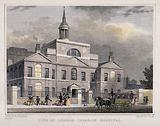 City of London Lying-in Hospital: three-quarter view of the facade