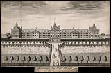 The Hospital of Bethlem (Bedlam) at Moorfields, London: seen from the north, with ladies and gentlemen walking in the …