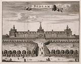 The Hospital of Bethlem (Bedlam) at Moorfields, London: seen from the north, with people walking in the foreground