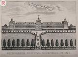 The Hospital of Bethlem (Bedlam) at Moorfields, London: seen from the north, with figures in the foreground