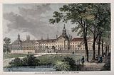 The Hospital of Bethlem (Bedlam) at Moorfields, London: seen from the north, with sheep grazing and people walking in …