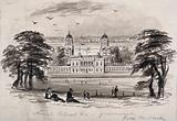 The Queen's House and Naval Hospital from Greenwich Hill with people in the foreground, London in the far distance