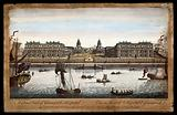 Royal Naval Hospital, Greenwich, with ships and rowing boats in the foreground