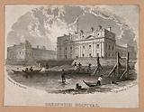 Royal Naval Hospital, Greenwich, with fishermen and mudlarks in the foreground, viewed from a pier