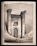 """A ruined gateway, with weeds growing out of the top of the piers, labelled in a blind central window: """"Greenwich …"""