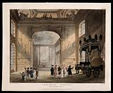Royal Naval Hospital, Greenwich: visitors in the Painted Hall, with Horatio Nelson's catafalque