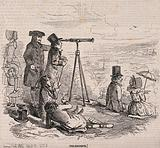 A Greenwich Pensioner, on Greenwich Hill, showing trippers the view with a telescope, and offering clay pipes for sale …