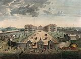 The Foundling Hospital, Holborn, London: a bird's-eye view of the courtyard, numbered for a key