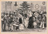 The Middlesex Hospital: a party in a ward, with a Christmas tree and other decorations