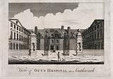Guy's Hospital: the entrance courtyard, with a patient being carried in on a stretcher