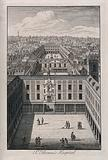 Old St Thomas's Hospital, Southwark: a bird's-eye view looking east over the three courtyards
