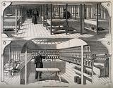 The medical quarters of the Melbourne, a ship of the Line: a ward deck, above, and an operating theatre, below