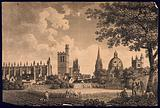 City of Oxford: cityscape from the meadows, showing All Souls and Oriel Colleges, St Mary's Church, Radcliffe Camera …