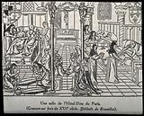 The Hôtel Dieu, Paris: interior showing patients being nursed by monks and nuns