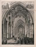 Rugby School, Rugby, Warwickshire: the new chapel with two smaller sketches of the exterior