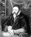 Portrait of John Dee, holding dividers and scroll