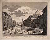 Herb-market and Holy Trinity Column, Vienna, Austria: panoramic view