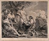 Nymphs holding the new born Adonis next to a myrrh tree representing Myrrha his mother amidst great rural splendor