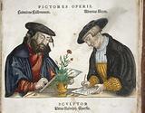 Portrait of two of the engravers of Fuchs' 'de Historia…