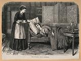 A patient lies on a chaise-longue, while a nurse brings her some refreshment