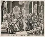 A hospital ward showing sick patients being tended to by medical staff, after a quote from the Bible