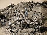 Boer War: British soldiers tending the wounded Boers after a battle