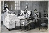 Boer War: two wounded men, one Boer and one British, playing at cards in a hospital ward as a nurse looks on