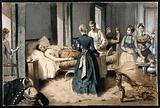 A doctor and some women attend to and prepare bandages for a wounded military man lying in comfortable surroundings