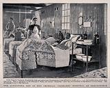 """Boer War: a military hospital ward with patient in the """"Alexandra"""" bed donated by the Princess of Wales"""