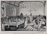 Boer War: a full military hospital ward housed in a church in Ladysmith, South Africa