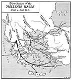 Map showing Races in Hellenic times, 1000–800 BC Illustrated by J F Horrabin