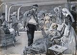 Boer War: the ward of a hospital ship in which a nurse converses with an anxious lady and her daughter