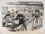 Russo-Japanese War: a field hospital ward with an inspection of the first wounded Japanese to arrive home