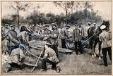 Army medical officers in the field constructing stretchers with logs and straw which are then pulled by a horse