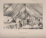 A doctor visiting patients in a field hospital ward in a tent
