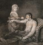 A frail and wounded soldier being saved from death by the care of his young wife