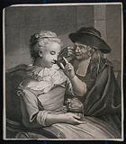 A young blind woman gives a cleric a sum of money, while he peers through his spectacles