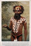 A shaman or medicine man with extensive body painting and nose stick, Australia