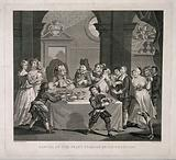 Sancho Panza (the squire of Don Quixote), at a banquet, being starved for health reasons by his physician