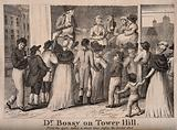 Doctor Bossy, an infamous medicine vendor performing on stage to a crowd at Tower Hill in an attempt to sell his wares