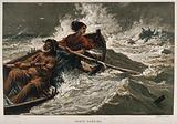 Grace Darling rowing out to sea in a furious storm