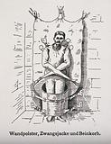 A mentally ill patient in a strait-jacket attached to the wall and a strange barrel shaped contraption around his legs