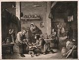 A rural surgeon treating an elderly man's foot, in the background an assistant is mixing a concoction with a pestle …